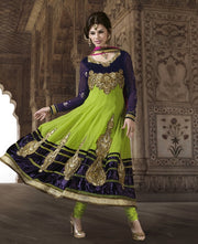 07 M10001 Mahek Green Indian Pakistani Anarkali Dress - Memsaab Online