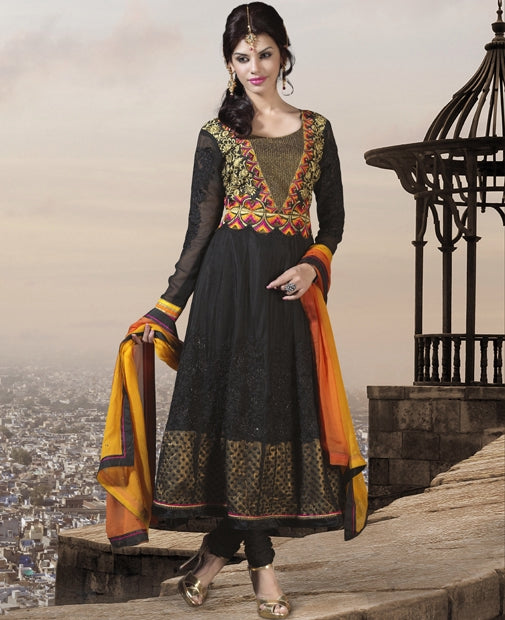 07 M10009 Mahek Black Indian Pakistani Dress - Memsaab Online