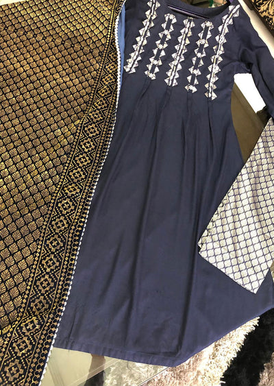 1012 Readymade Navy Linen Suit by Sofia Shaan - Memsaab Online