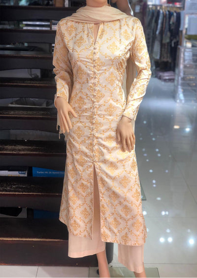 1017 Readymade Cream Long Dress by Sofia Shaan - Memsaab Online