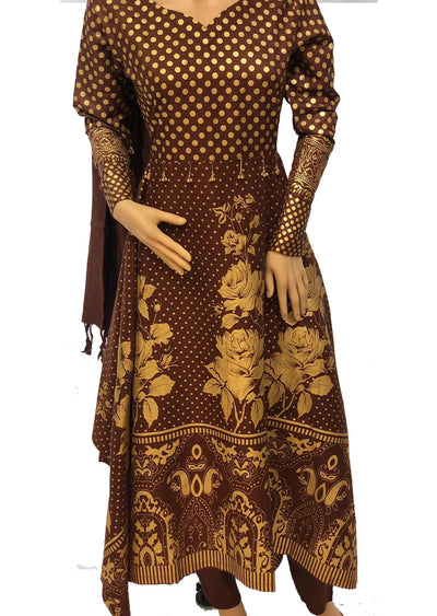 1018 Readymade Brown Long Dress by Sofia Shaan - Memsaab Online