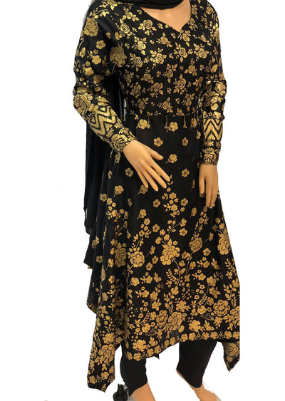 1019 Readymade Black Long Dress by Sofia Shaan - Memsaab Online