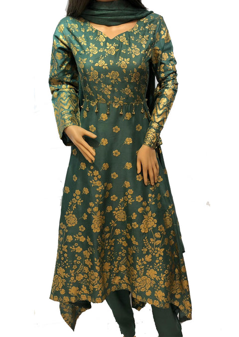 1019 Readymade Green Long Dress by Sofia Shaan - Memsaab Online