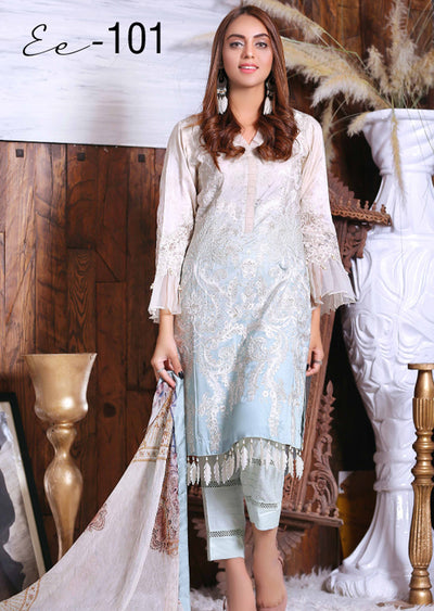 EA101 - Unstitched - Eshaeman Linen Collection 2020 - Memsaab Online
