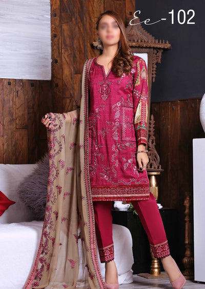 EA102 - Unstitched - Eshaeman Linen Collection 2020 - Memsaab Online