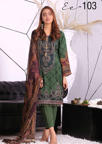 EA103 - Unstitched - Eshaeman Linen Collection 2020 - Memsaab Online