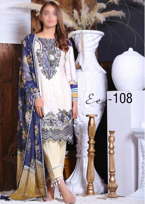EA108 - Unstitched - Eshaeman Linen Collection 2020 - Memsaab Online