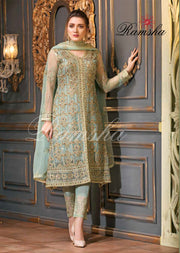 R-2210 Stitched Readymade Ramsha Spellbind Vol-22 - Pakistani Designer Chiffon with Stone Work Suit - Memsaab Online