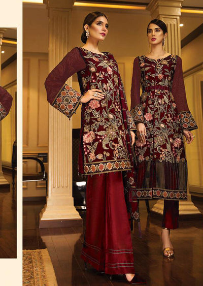 10 Asian Odeyssey - Red - JAZMIN - Baroque Embroidered Chiffon Fancy Pakistani Designer Suit - Memsaab Online