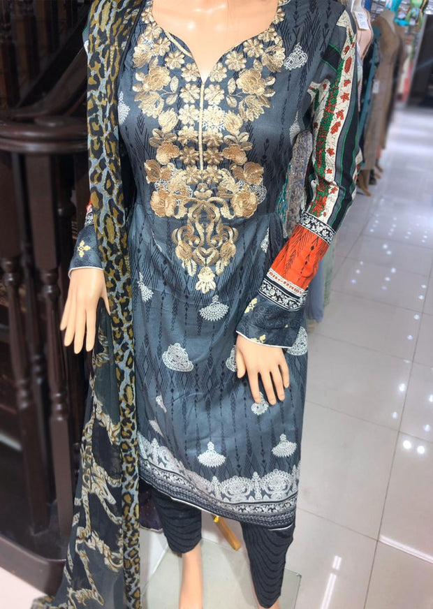 AMT1906 Grey Readymade Embroidered Lawn Dress - Memsaab Online