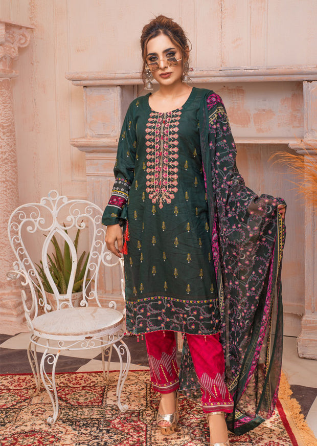 AMT20010 - Readymade Green Embroidered Lawn Suit - Memsaab Online