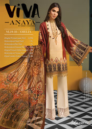VL19-10 AMELIA - VIVA - Anaya by Kiran Chaudhry - Unstitched Pakistani Embroidered Lawn Collection - Lowest Price UK - Memsaab Online
