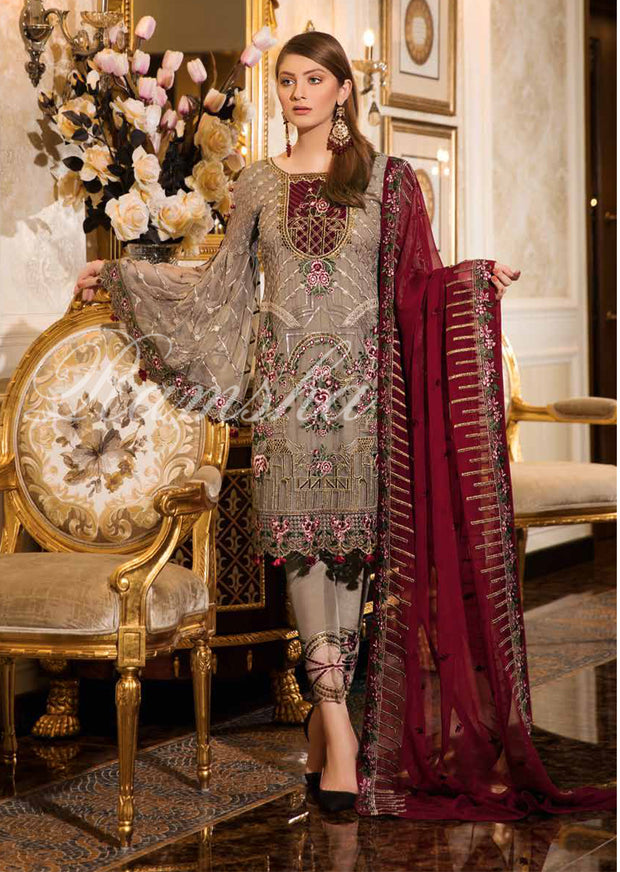 F - 1610 Ramsha Vol 16 - READYMADE Eid Embroidered Chiffon Collection 2019 Pakistani Designer wear - Memsaab Online