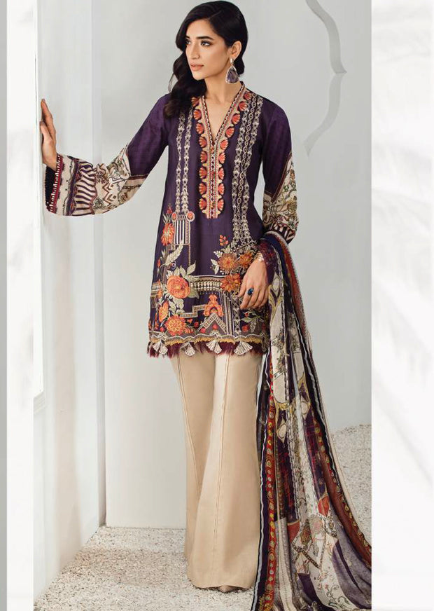 10 Carlita - Fuchsia by Baroque - Unstitched Pakistani Designer Embroidered Lawn Suit - Memsaab Online