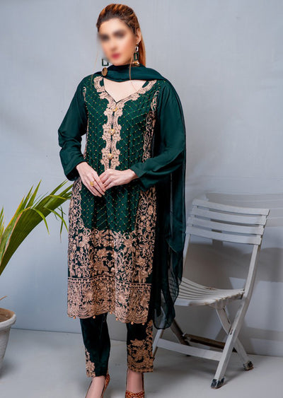 HK36 Green Linen Embroidered Suit - Memsaab Online