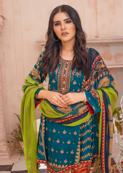 AMT20005 - Readymade Teal Embroidered Lawn Suit - Memsaab Online