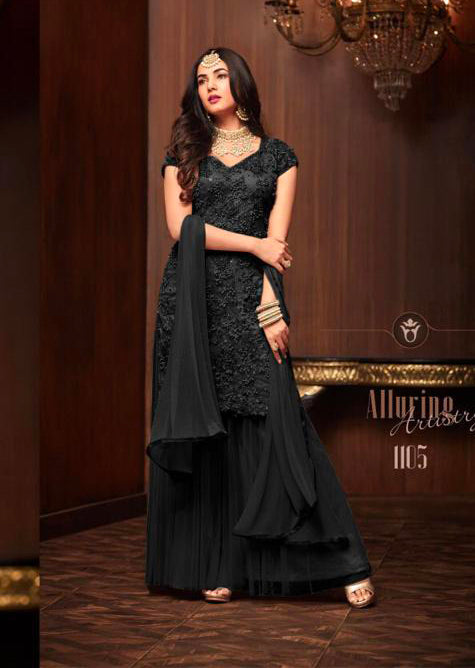 1105 - Black - Maisha Replica - Indian Short Salwar Kameez with lengha - Memsaab Online