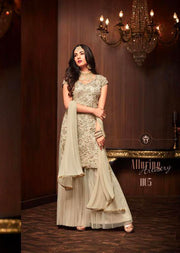 Cream - Maisha Replica - Indian Short Salwar Kameez with lengha - Memsaab Online