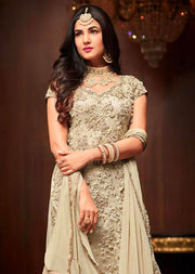 1105 - Cream - Maisha Replica - Indian Short Salwar Kameez with lengha - Memsaab Online