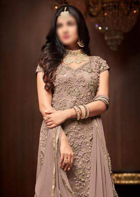 Mauve - Maisha Replica - Indian Short Salwar Kameez with lengha - Memsaab Online