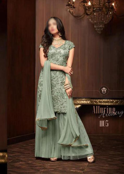 Mint - Maisha Replica - Indian Short Salwar Kameez with lengha - Memsaab Online