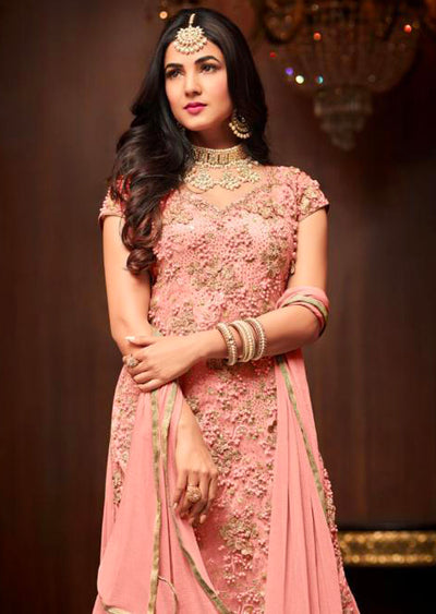 1105 - Peach - Maisha Replica - Indian Short Salwar Kameez with lengha - Memsaab Online