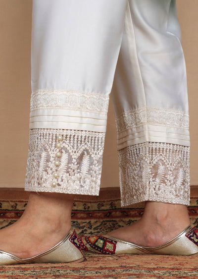 DXT04 White Embroidered Trouser - Memsaab Online
