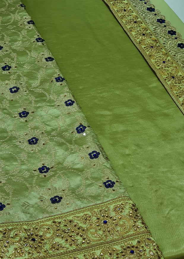 1197 C - Green - Unstitched Brocade Fancy Suit - Memsaab Online