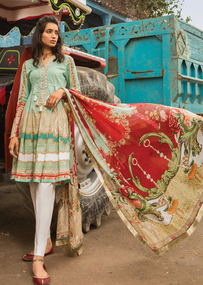 11A Maria B M Prints Unstitched 2019 - Pakistani Designer Embroidered Lawn Suit Spring / Summer UK DELIVERY - Memsaab Online