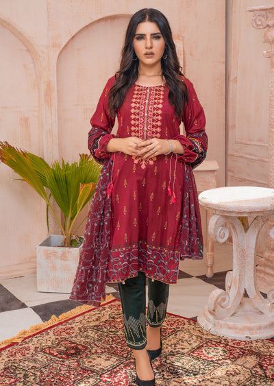 AMT20012 - Readymade Plum Embroidered Lawn Suit - Memsaab Online