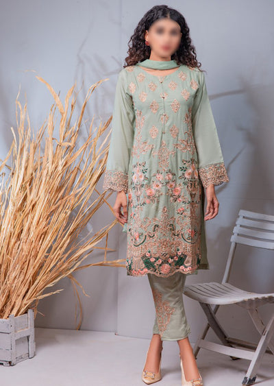 HK08 Readymade Mint Embroidered Linen Suit - Memsaab Online