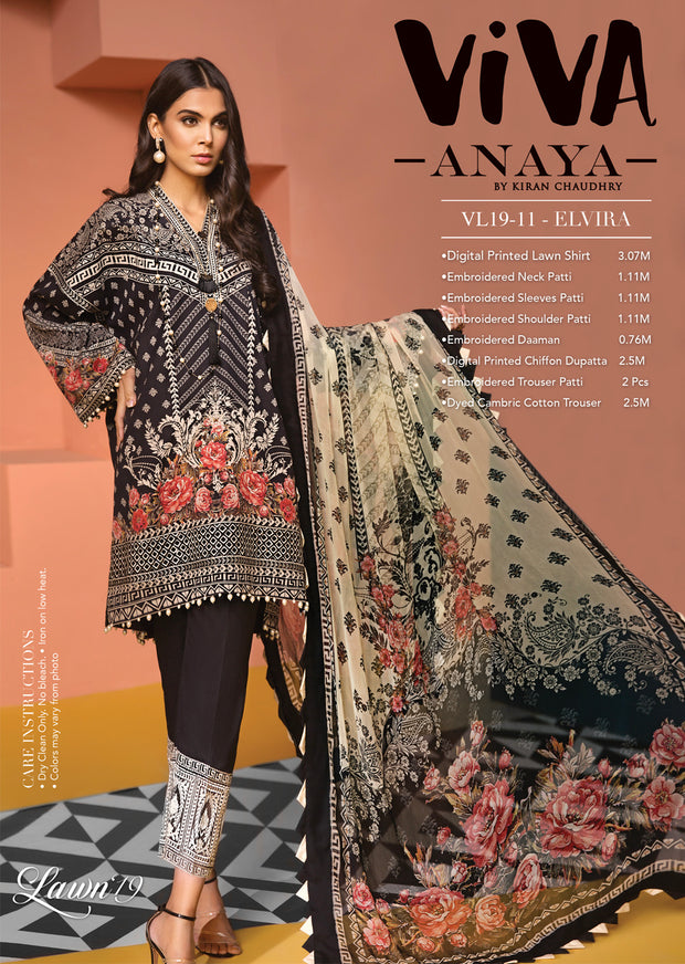 VL19-11 ELVIRA - VIVA - Anaya by Kiran Chaudhry - READYMADE Pakistani Embroidered Lawn Collection - Lowest Price UK - Memsaab Online
