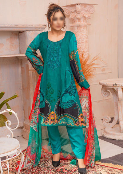 AMT20033 - Readymade Embroidered Lawn Dress - Memsaab Online