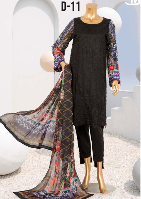 D-11 Unstitched - Royal - Steple Suit by Javed Arts - Memsaab Online