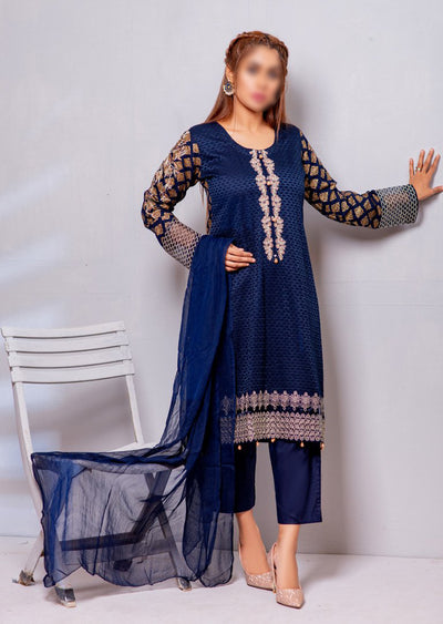 HK13 Readymade Blue Embroidered Linen Suit - Memsaab Online