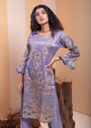 HK43 Grey Embroidered Organza Suitr - Memsaab Online
