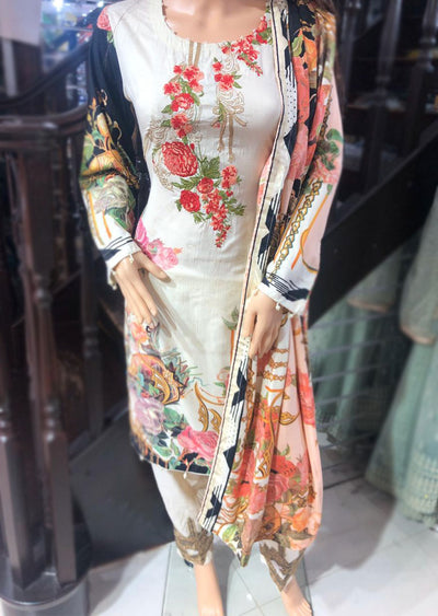Readymade Embroidered Lawn Suit with Lawn Duppatta - Memsaab Online
