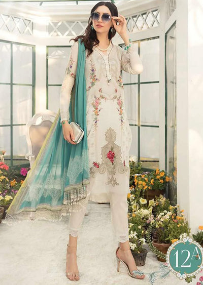 12A Unstitched Maria B Inspired Linen Suit - Memsaab Online