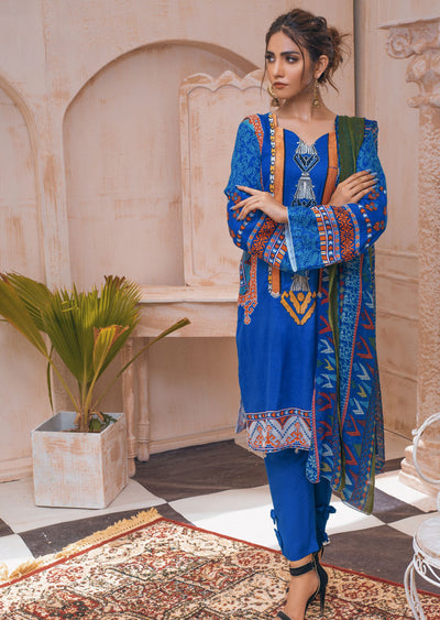 AMT20023 - Readymade Blue Embroidered Lawn Suit - Memsaab Online