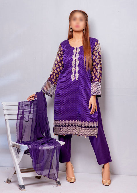 HK13 Readymade Purple Embroidered Linen Suit - Memsaab Online