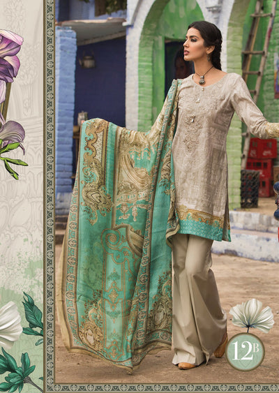 12B Maria B M Prints Unstitched 2019 - Pakistani Designer Embroidered Lawn Suit Spring / Summer UK DELIVERY - Memsaab Online