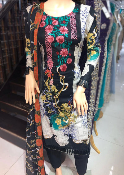 AMT1914 Black Readymade Embroidered Lawn Suit - Memsaab Online