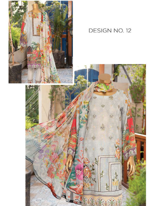 JAL12 Unstitched - Aleeza Lawn Suit by Javed Arts - Memsaab Online