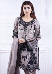 1362 - Readymade - Grey - Chiffon Partywear Embroidered Designer Suit - Memsaab - Memsaab Online