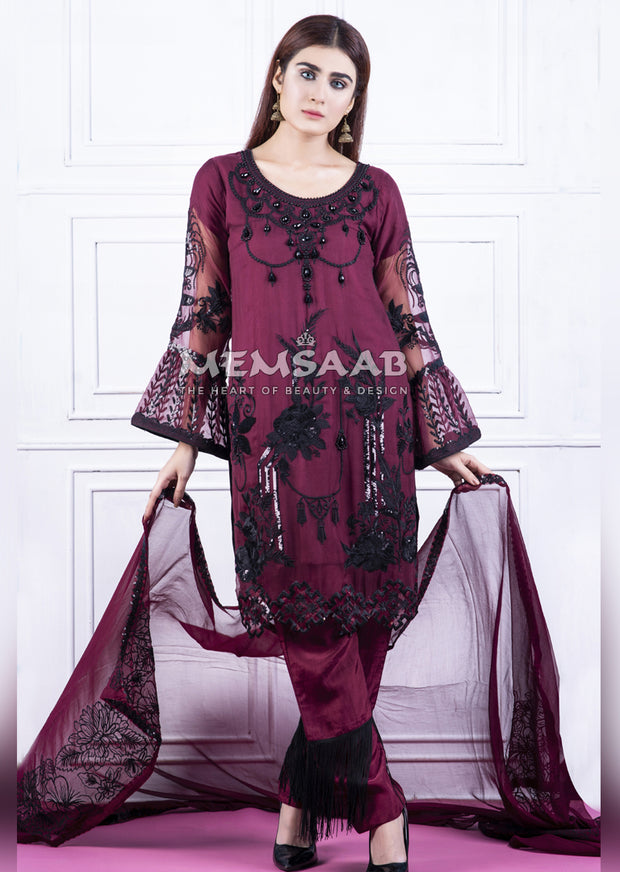 Readymade - Plum - Chiffon Partywear Embroidered Designer Suit - Memsaab - Memsaab Online