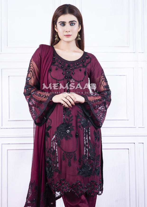 1362 - Readymade - Plum - Chiffon Partywear Embroidered Designer Suit - Memsaab - Memsaab Online