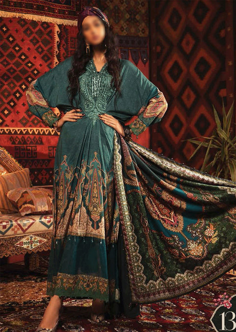 MIR-13A - Unstitched Maria B Inspired Winter Twill Suit - Memsaab Online