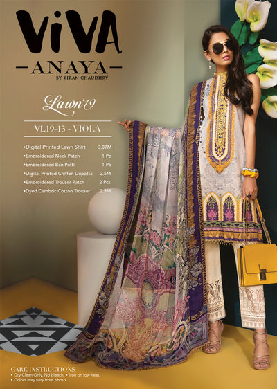 VIOLA - VIVA - Anaya by Kiran Chaudhry - Unstitched Pakistani Embroidered Lawn Collection - Lowest Price UK - Memsaab Online