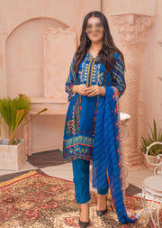 AMT20002 - Readymade Blue Embroidered Lawn Dress - Memsaab Online
