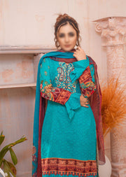 AMT20028 - Readymade Embroidered Lawn Suit - Memsaab Online